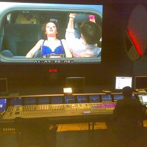 Mixing the score for Fishdance Kid at Pinewood's Pressburger Theatre Studio.